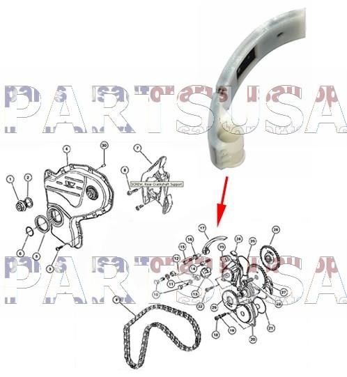 Ślizg łańcucha rozrządu boczny